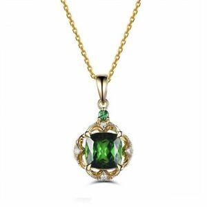 Damen-925-Silber-Schluesselbein-Kette-Halskette-Smaragd-Turmalin-Stein-Anhaenger