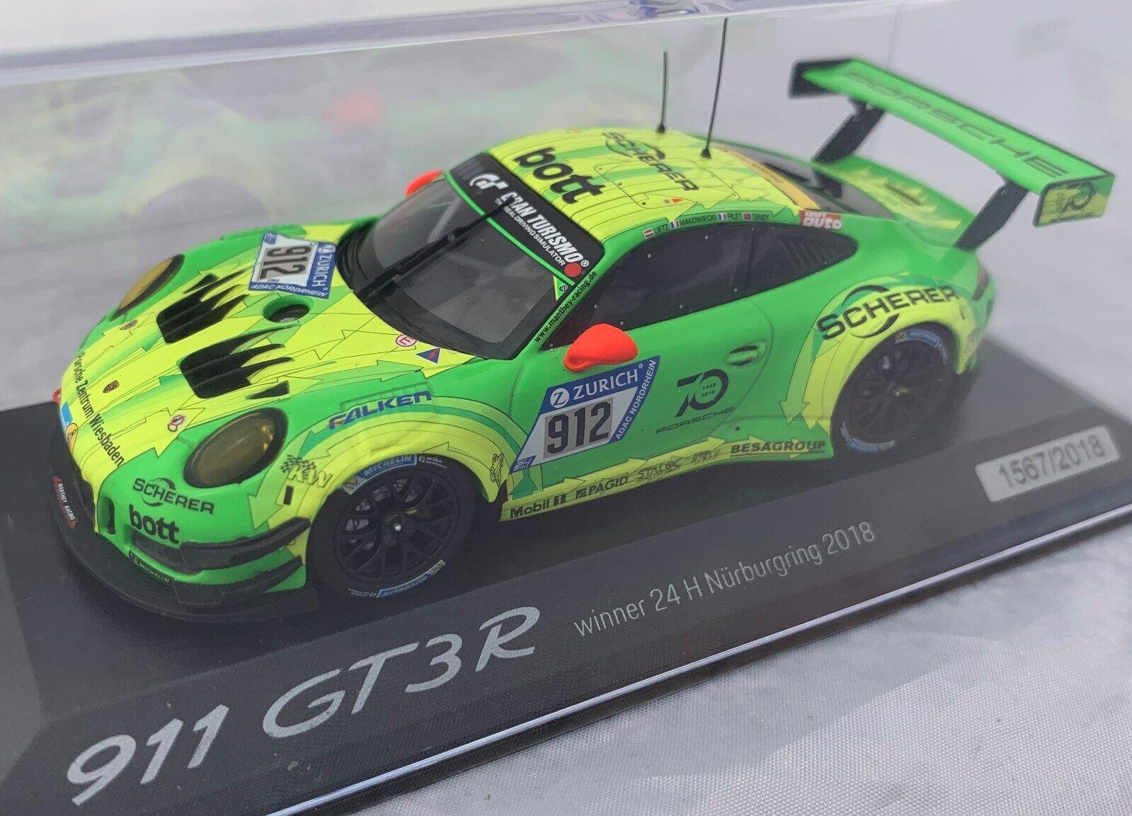 Porsche 911 GT3 R 24H Nurburgring 2018 Winner 1 43 Limited Minichamps Spark