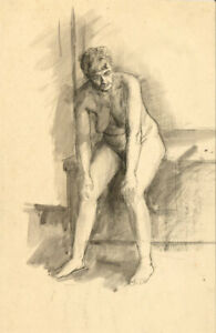 Peter Collins ARCA - c.1970s Pen and Ink Drawing, Female Nude