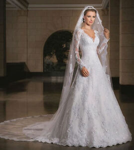 Long-Sleeve-lace-Wedding-Dress-V-neck-Bridal-Gown-Custom-Size-2-4-6-8-10-12-14