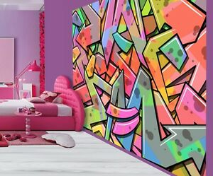 Details About Cool Abstract Graffiti Art Kids Bedroom Wallpaper Wall Mural 33045063