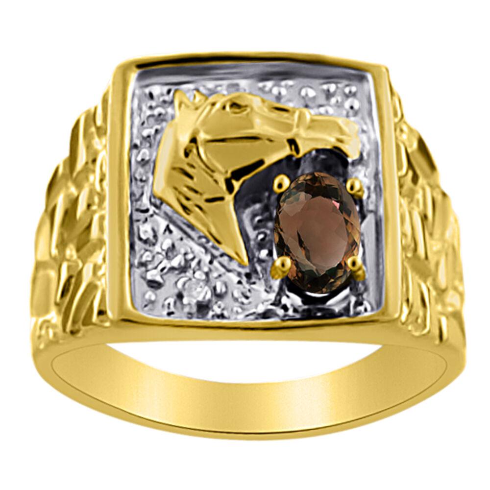Smokey Quartz & amp;Bague Tête de Cheval en Diamants Pépite Porte-bonheur en Or Jaune 14K