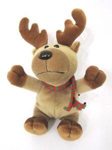 Small-Vintage-Reindeer-Plush-Toy-Holiday-Scarf-Rudolph-Christmas-Deer-Antlers-8-034