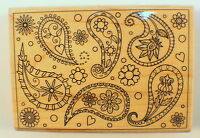 Hampton Art Outlines Ps0637 Paisley Large Print Pattern Wooden Rubber Stamp