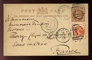 GB-QV-STATIONERY-CARD-1889-UPRATED-BRIGHTON-to-FRANCE