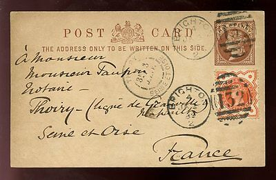 GB QV STATIONERY CARD 1889 UPRATED BRIGHTON to FRANCE