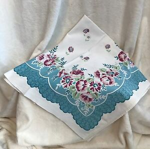 vintage 1960s card table table topper tablecloth 33 sq flowers pink