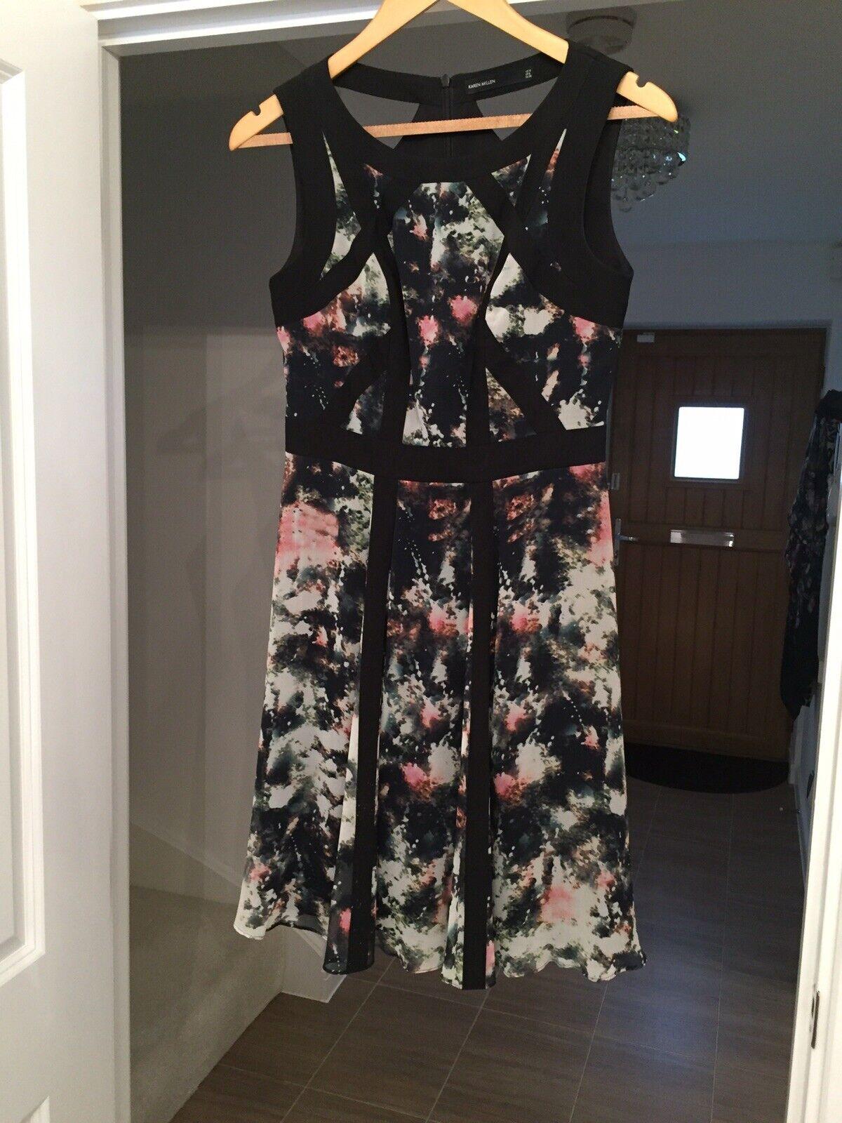 Brand New Karen Millen Dress in schwarz Multi Smudge Print UK Größe 10