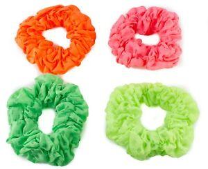 A Pretty Fluorescent Pink Chiffon Ruffle Scrunchie Hair Bobble
