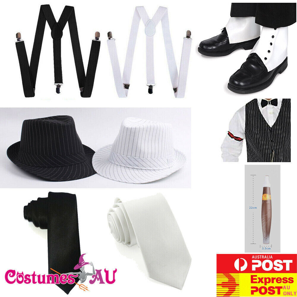Mens 1920s 20s Gangster Set Hat Braces Tie Cigar Gatsby Armband Spat Costume