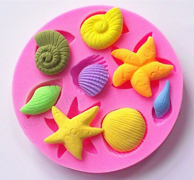 3D Starfish Shell Silicone Fondant Mold Candy Cake Sugar Craft Decoration Mould