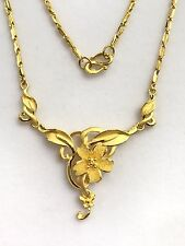 24k Solid Gold Beautiful Flower Chain/ Necklace 17.5 Inches. 13.14 Grams