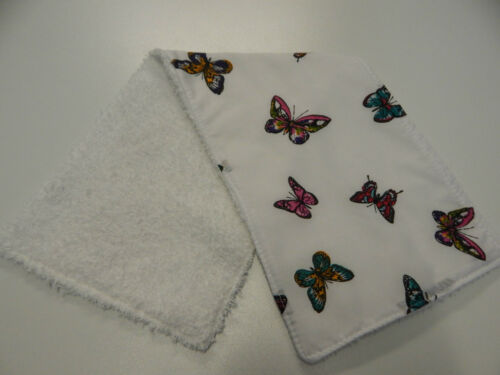 Colourful Butterflies on White Burp Cloth 1 Only Toweling Back 100/% Cotton