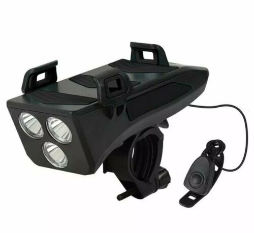 4 in 1 Bicycle 3 LED Light 4000mah Phone Charging and Mount with 130db Horn