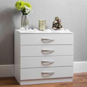 Hulio high gloss chest of drawers white 4 drawer metal for Maniglie per mobili camera da letto