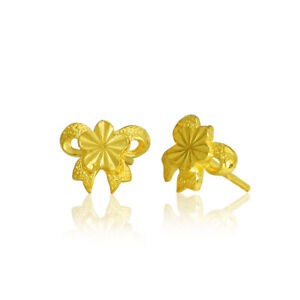 Pure 999 Authentic 24K Yellow Gold Perfect Peach Blossom Lucky Stud Earrings