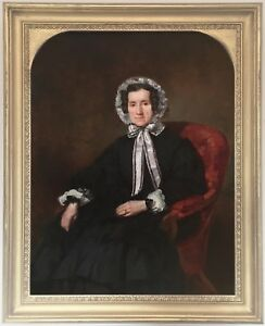 Portrait-of-a-Lady-Antique-Oil-Painting-19th-Century-English-School