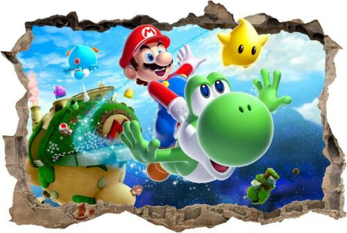 Super Mario Bros Galaxy Smashed Wall Decal Removable Wall Sticker Yoshi H193