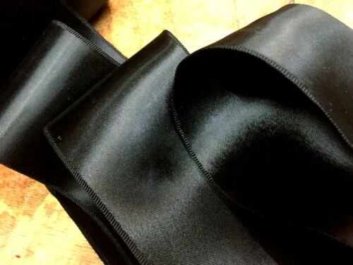 """VINTAGE 1930s DOUBLE SIDED 3/"""" RAYON SATIN RIBBON Made in France BLACK SASH"""