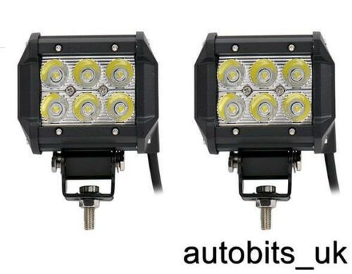 2pcs 12V 24V 18W LED Work Light Spot Beam Lamp Forklift Tracktor Backhoe Hackhoe