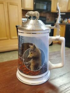Longton Crown Timber Wolf Lord of the Wilderness Tankard/Stein Ahead of the Pack