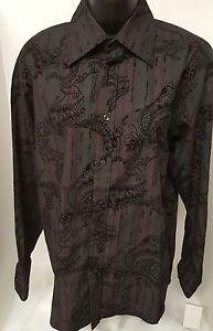 Eighty-Eight-Platinum-NWT-Mens-Black-Burgundy-Design-Button-Down-Shirt-Size-S