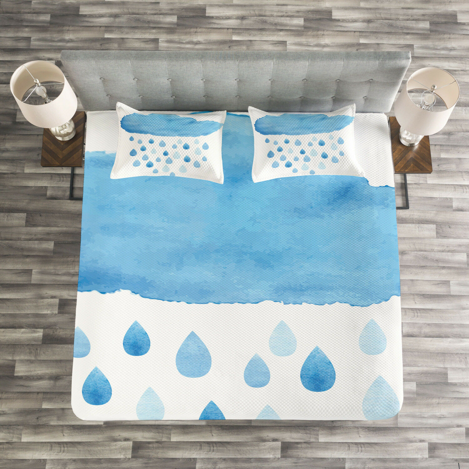 blu bianca Quilted Bedspread & Pillow Shams Set, Rain Drops and Cloud Print
