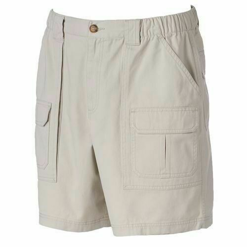 Croft /& Barrow Sizes 36 44 Sculpted Stone Side Elastic Cotton Cargo Shorts New