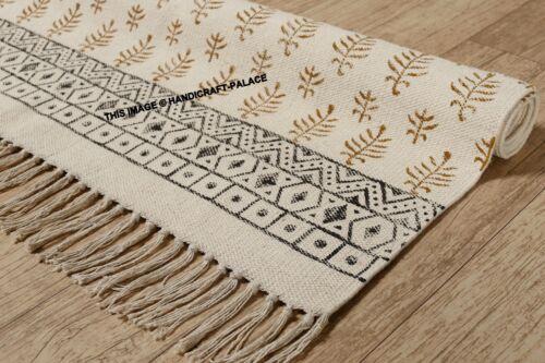 Indian Hand Block Print Leaf Rug Ethnic Cotton Rug Runner Hand Loomed Area Rug