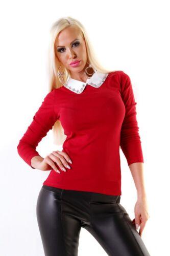 4801 FEIN da Donna Pullover Lavorato A Maglia Pullover a maglia manica lunga camicette COLLO GLITTER