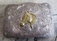 Horse Cowboy Cowgirl Western Fleming Sterling Silver Vintage Belt Buckle