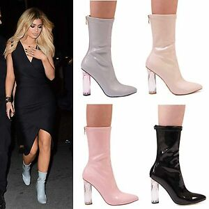 LADIES-WOMENS-FASHION-ANKLE-BOOT-PERSPEX-HEELS-STYLE-FORMAL-CASUAL-PARTY-SHOES