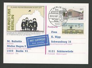 Briefmarken Portogerechte Zusatzfrankatur Für Luftpost Auf Ga M1209 Diverse Philatelie Konstruktiv Berlin Atm 1987 5 Pfg