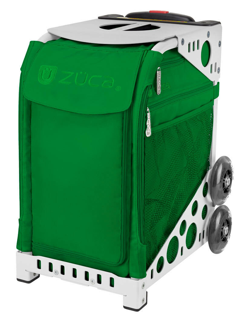 ZUCA Bag EMERALD Insert & White Frame w  Flashing Wheels -FREE SEAT CUSHION