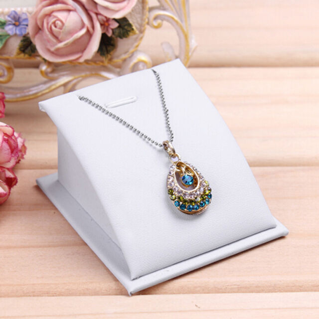 1pc Velvet Jewelry Necklace Pendant Drop Chain Display Holder Standing Stands