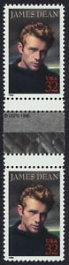 #3082 32c James Dean, Horizontal Gutter Par [2 ], Nuevo Cualquier 5=