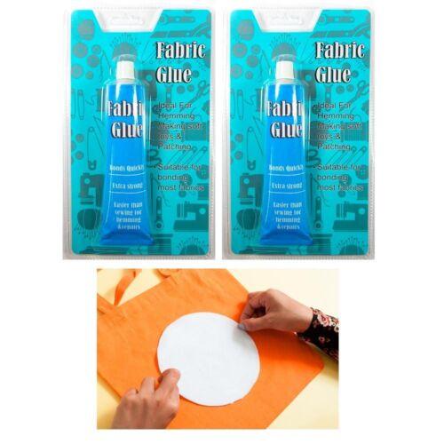 2 Fabric Glue Permanent Strong Adhesive No Sew Fabric Craft Textile Gem Fashion