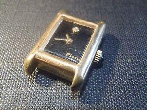 Vintage-Movimento-Da-Orologio-Meccanico-pion-Placca-Oro