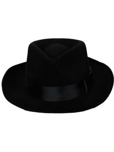 BLACK Gangster Cappello di feltro Borsalino Fedora 1920 S Al Capone Mafia Costume per adulti