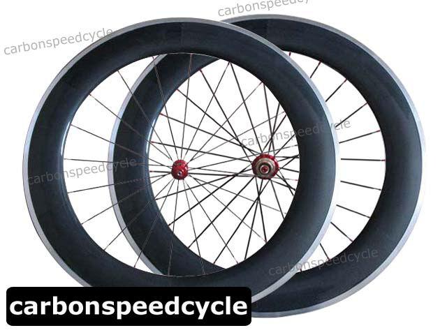 23mm Wide Carbon Road Bike Wheel 80mm Clincher Alloy Brake Straight Pull Ceramic