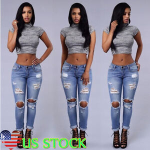 Women-Denim-Skinny-Long-Pants-High-Waist-Ripped-Stretch-Trousers-Pencil-Jeans-US