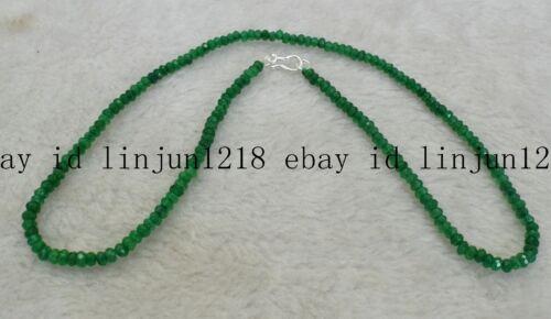 Fine 2x4mm Aquamarine Faceted Rondelle Pierres Précieuses Perles Collier Argent 925 Fermoir AAA