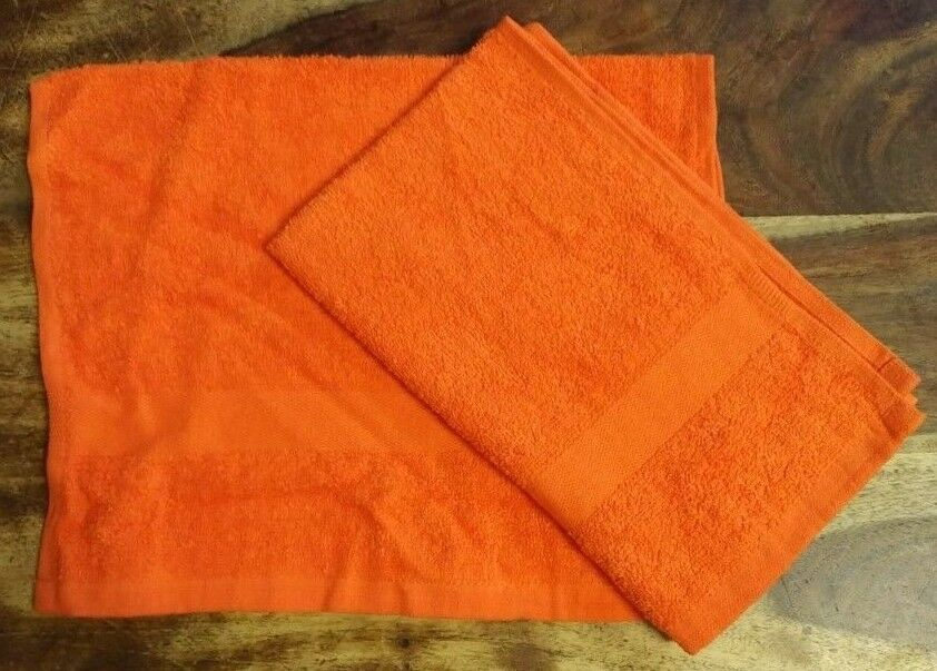 ORANGE BRIGHT GUEST TOWELS X2 400 GSM LIGHT WEIGHT  30cm x 50cm APPROX