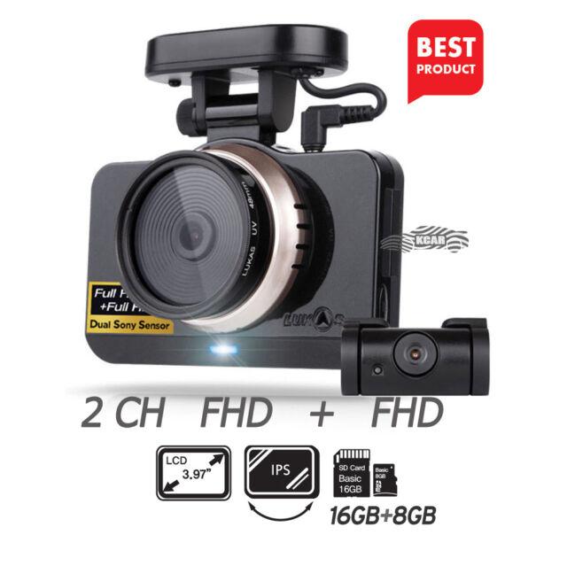 "LUKAS LK-9750 Duo Blackbox Dash Camera 2CH FullHD English 4"" Dual 8GB+16GB+GPS"