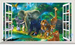 Jungle-Animals-Safari-Giraffe-3D-Window-Wall-Decal-Removable-Stickers-Kids-Decor
