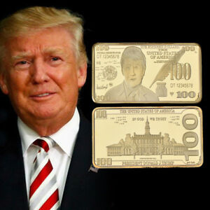 WR-US-Trump-100-Dollar-Note-Gold-Bullion-Art-Bar-Ingot-America-Novelty-Banknote