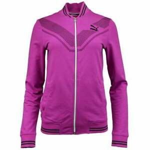 Puma-V-Line-Track-Jacket-Athletic-Outerwear-Purple-Womens-Size-S