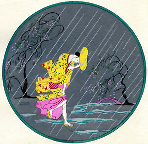 1930s-French-Pochoir-Print-Art-Deco-Japanese-Motifs-Storm-Geisha-Yellow-Kimono