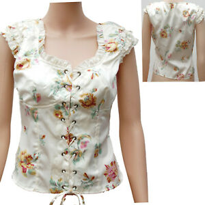 WHITE-FLORAL-LACE-UP-FRONT-FITTED-BODICE-TOP-BLOUSE-ALTERNATIVE-STEAM-PUNK
