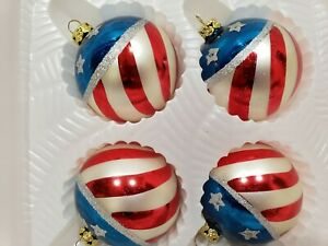 Details About 4 Patriotic 4th Of July Red White Blue Glass Flag Ornaments Decor 2 5
